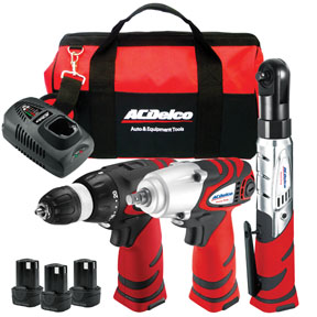 12V 3-in-1 Impact Wrench, Drill Driver & Ratchet Wrench Cordless Combo